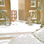 January Winter Street Winding Snow Covered Staircase Montreal Art Verdun Duplex Painting Cspandau Poster