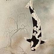 Japanese Koi Utsuri Mono Willow Painting  Poster