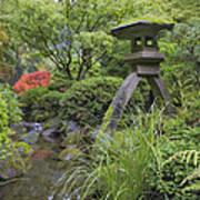 Japanese Stone Lantern By Water Stream Poster