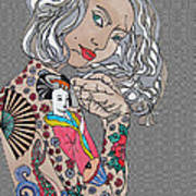 Japanese Tat Girl Grey  Poster