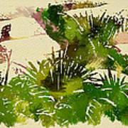 Japanese Washi Garden Reflections Poster
