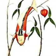 Japnese Koi Shuisui Chinese Lantern Painting Poster