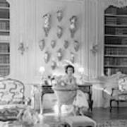 Jayne Wrightsman In Her Library In Palm Beach Poster