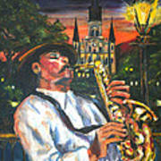 Jazz By Street Lamp Poster