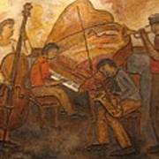 Jazz Quartet Poster by Anita Burgermeister