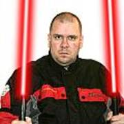 Jedi Master Randall M Rueff And Lightsaber Thirty Five Poster