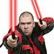 Jedi Master Randall M Rueff And Lightsaber Thirty Four Poster