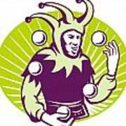 Jester Juggler Juggling Balls Retro Poster