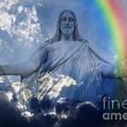 Jesus And Light With Rainbow Poster