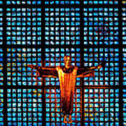 Jesus Sculpture And Blue Glass Background Poster
