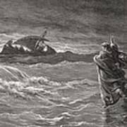 Jesus Walking On The Sea John 6 19 21 Poster by Gustave Dore