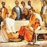 Jesus Washing Apostle's Feet Poster