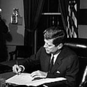 Jfk Signing The Cuba Quarantine Poster by War Is Hell Store