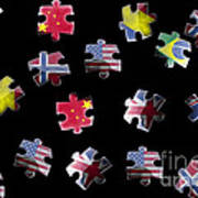 Jigsaw Puzzle Flag Pieces Poster