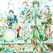 Jim Morrison And The Doors Live On Stage- Watercolor Portrait Poster