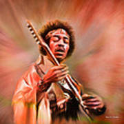 Jimi Hendrix Electrifying Guitar Play Poster
