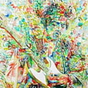 Jimi Hendrix Playing The Guitar Portrait.1 Poster by Fabrizio Cassetta