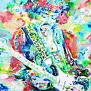 Jimi Hendrix Playing The Guitar.2 -watercolor Portrait Poster