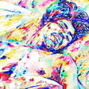 Jimi Hendrix Sleeping - Watercolor Portrait Poster
