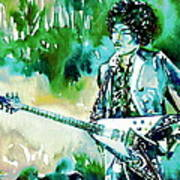 Jimi Hendrix With Guitar Poster