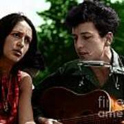 Joan Baez With Bob Dylan Poster
