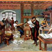 Johann Gutenberg's Printing Press Poster