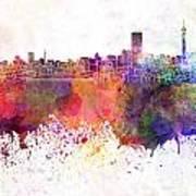 Johannesburg Skyline In Watercolor Background Poster