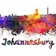 Johannesburg Skyline In Watercolor Poster
