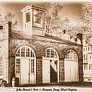 John Browns Fort - Harpers Ferry West Virginia - Modern Day Sepia Poster by Michael Mazaika