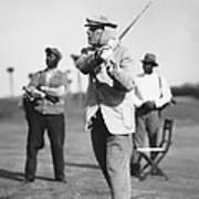 John D. Rockefeller Golfing Poster