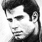 John Travolta Art Drawing Sketch Portrait Poster