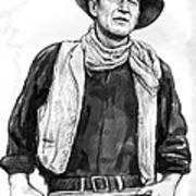 John Wayne Art Drawing Sketch Portrait Poster