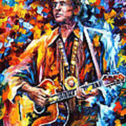 Johnny Cash - Palette Knife Oil Painting On Canvas By Leonid Afremov Poster