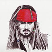 Johnny Depp As Jack Sparrow Poster by Martin Howard