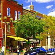 Jos Pappos Furs Street Scene Suburban Shops And Store Fronts Sherbrooke Montreal Carole Spandau Art  Poster