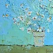 Joyful Daisies, Flowers, Modern Impressionistic Art Palette Knife Oil Painting Poster
