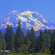 Just Over The Hill Mt. Rainier Poster