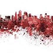 Kansas City Skyline In Red Watercolor On White Background Poster