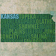 Kansas Word Art State Map On Canvas Poster