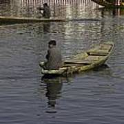 Kashmiri Men Rowing Many Small Wooden Boats In The Waters Of The Dal Lake Poster