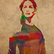 Katniss Everdeen From Hunger Games Jennifer Lawrence Watercolor Portrait On Worn Parchment Poster