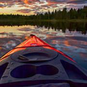 Kayak Sunset Poster