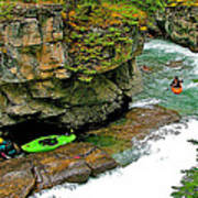 Kayakers In Maligne Canyon In Jasper Np-alberta Poster