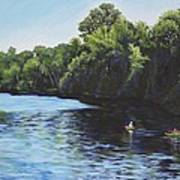 Kayaks On Rainbow River Poster by Penny Birch-Williams