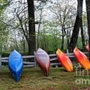 Kayaks Waiting Poster by Michael Mooney
