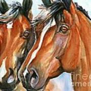 Horse Painting Keeping Watch Poster