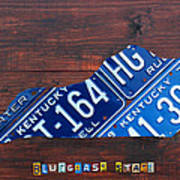 Kentucky License Plate Map The Bluegrass State Poster