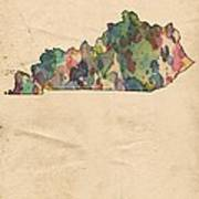 Kentucky Map Vintage Watercolor Poster
