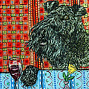 Kerry Blue Terrier At The Wine Bar Poster by Jay  Schmetz