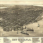 Key West Florida Map 1884 Poster